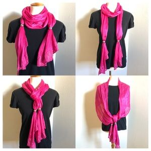 Neon Pink Glitter Scarf With Silver Metal Rings